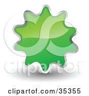 Shiny Green Starburst Shaped Web Design Internet Button Or Icon