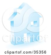 Clipart Illustration Of A Blue Home Icon With A Doorway Chimney And Window