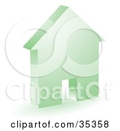Clipart Illustration Of A Green House Icon With A Doorway