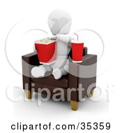 Clipart Illustration Of A 3d White Character With Soda Munching On Popcorn While Sitting In A Leather Chair At The Movies by KJ Pargeter