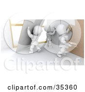 Clipart Illustration Of 3d White Characters Putting Up Walls And Applying Plaster by KJ Pargeter