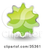 Clipart Illustration Of A Shiny Light Green Starburst Shaped Web Design Internet Button Or Icon