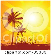 Clipart Illustration Of A Bright Sunset Sun Shining Down On Silhouetted Palm Trees And Grunge
