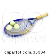 Clipart Illustration Of Three Tennis Balls Resting On A Tennis Racket by KJ Pargeter