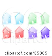 Clipart Illustration Of A Set Of Blue Green Red And Purple Home Icons by KJ Pargeter