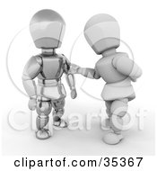 3d White Character Reaching Out To Curiously Touch A Metal Character by KJ Pargeter
