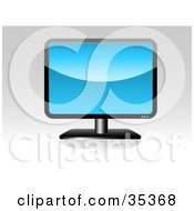 Clipart Illustration Of A Black LCD Computer Or Tv Screen With A Blue Background