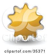 Clipart Illustration Of A Shiny Light Orange Starburst Shaped Web Design Internet Button Or Icon
