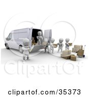 3d White Characters Being Supervised While Loading Boxes In A Delivery Van