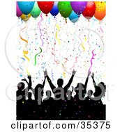 Clipart Illustration Of A Black Silhouetted Crowd Having Fun Under Confetti And Party Balloons by KJ Pargeter