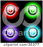 Clipart Illustration Of A Set Of Four Glowing Red Green Purple And Blue Power Buttons