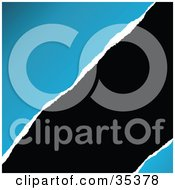 Clipart Illustration Of A Black Background Emerging From Ripped Blue Paper