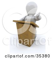 3d White Character Behind A Podium Giving A Speech