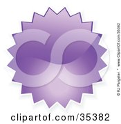 Clipart Illustration Of A Purple Shiny Starburst Shaped Internet Button Icon