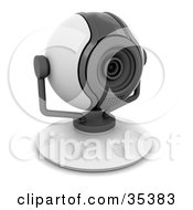 Clipart Illustration Of A Compact White And Gray Web Cam Facing Slightly Right