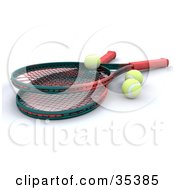 Clipart Illustration Of Two Green And Red Tennis Rackets And Three Balls by KJ Pargeter
