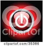 Clipart Illustration Of A Glowing Red Power Button Rimmed In Chrome