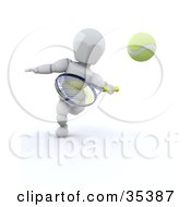 Clipart Illustration Of A 3d White Character Running Forward To Hit A Tennis Ball With A Racket by KJ Pargeter