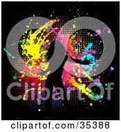 Clipart Illustration Of A Dancing Woman Silhouetted In Black Over A Grungy Black Background Of Dots And Splatters