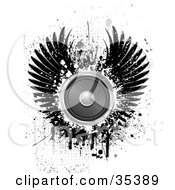 Clipart Illustration Of A Music Speaker With Grungy Black Wings Over A White Background With Gray Splatters by KJ Pargeter