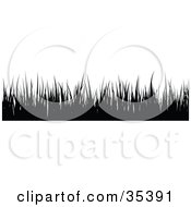 Clipart Illustration Of A Border Of Black Silhouetted Blades Of Grass