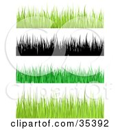Clipart Illustration Of A Border Of Yellowish Blades Of Grass