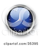 Clipart Illustration Of A Shiny Blue Wall Clock With The Arms Pointing At 7