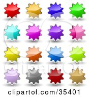 Clipart Illustration Of A Set Of Red Orange Blue Green Pink Purple Gray And Brown Shiny Starburst Shaped Internet Icons Or Buttons