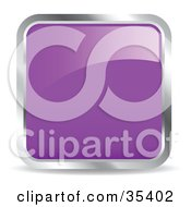 Clipart Illustration Of A Shiny Purple Square Chrome Rimmed Internet Icon Or Button