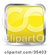 Clipart Illustration Of A Shiny Yellow Square Chrome Rimmed Internet Icon Or Button