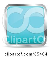 Clipart Illustration Of A Shiny Light Blue Square Chrome Rimmed Internet Icon Or Button