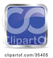 Clipart Illustration Of A Shiny Navy Blue Square Chrome Rimmed Internet Icon Or Button