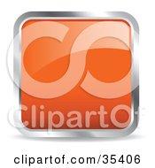 Clipart Illustration Of A Shiny Orange Square Chrome Rimmed Internet Icon Or Button
