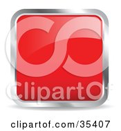 Clipart Illustration Of A Shiny Red Square Chrome Rimmed Internet Icon Or Button