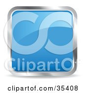 Clipart Illustration Of A Shiny Blue Square Chrome Rimmed Internet Icon Or Button