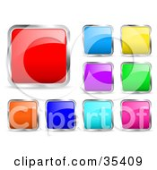Clipart Illustration Of A Design Set Of Red Blue Purple Yellow Green Orange And Pink Chrome Rimmed Icon Buttons