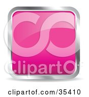 Clipart Illustration Of A Shiny Pink Square Chrome Rimmed Internet Icon Or Button