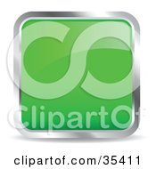 Clipart Illustration Of A Shiny Green Square Chrome Rimmed Internet Icon Or Button