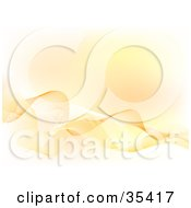 Clipart Illustration Of A Background Of Abstract White And Orange Waves And Blur