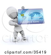 3d White Character Holding Up A Large Blue Credit Card