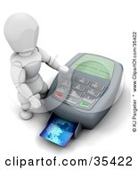 Clipart Illustration Of A 3d White Character Operating A Credit Card Machine by KJ Pargeter
