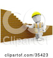 White Character Putting Up A Brick Wall With A Trowel And Mortar