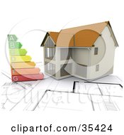 Clipart Illustration Of A New Home And Energy Rating Chart Resting Over Blueprints by KJ Pargeter
