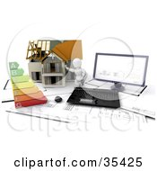 Clipart Illustration Of A 3d White Character Resting Against A Home On Top Of Blueprints With A Computer And Energy Rating Chart