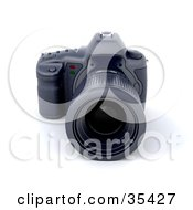 Clipart Illustration Of A Black Digital SLR Camera With A Large Zoom Lens by KJ Pargeter