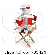 Clipart Illustration Of A Relaxed White Character Wearing 3d Glasses Munching On Popcorn And Sipping Soda While Sitting In A Directors Chair At A Movie by KJ Pargeter