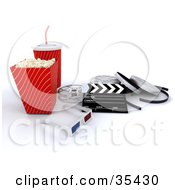 Clipart Illustration Of A Pair Of 3d Glasses Resting With A Clapperboard Film Reels Soda And Movie Popcorn