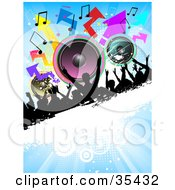 Clipart Illustration Of A Partying Silhouetted Crowd On A Black And White Grunge Bar With Colorful Speakers Arrows And Music Notes On A Blue Background by KJ Pargeter