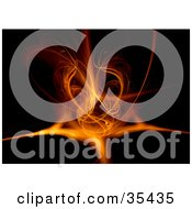 Clipart Illustration Of A Fiery Orange Twisting Fractal On A Black Background