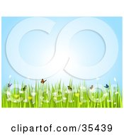 Clipart Illustration Of Butterflies Frolicking Over Flowers On A Sunny Spring Day
